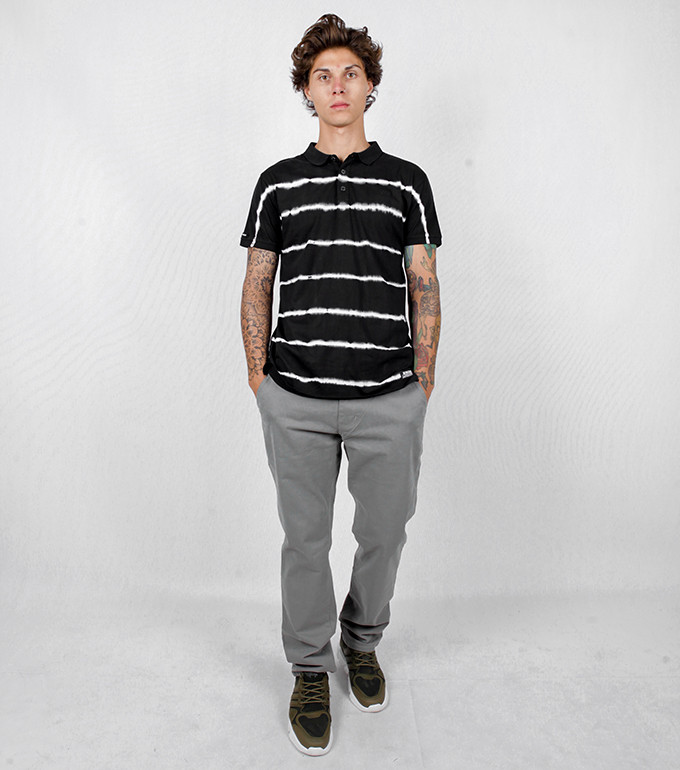 DYE STRIPE POLO  BLACK XL